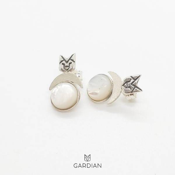 pendientes lobo night nacar-gardianjoyas