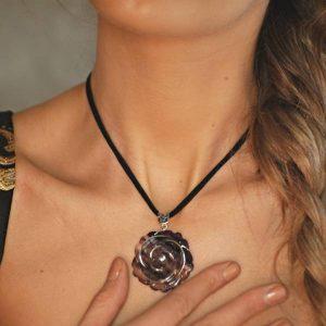 colgante diva rosa fluorita- Gardianjoyas